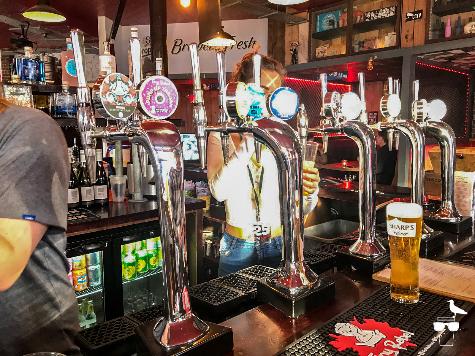 the hare and hounds pub brighton close up of taps on bar