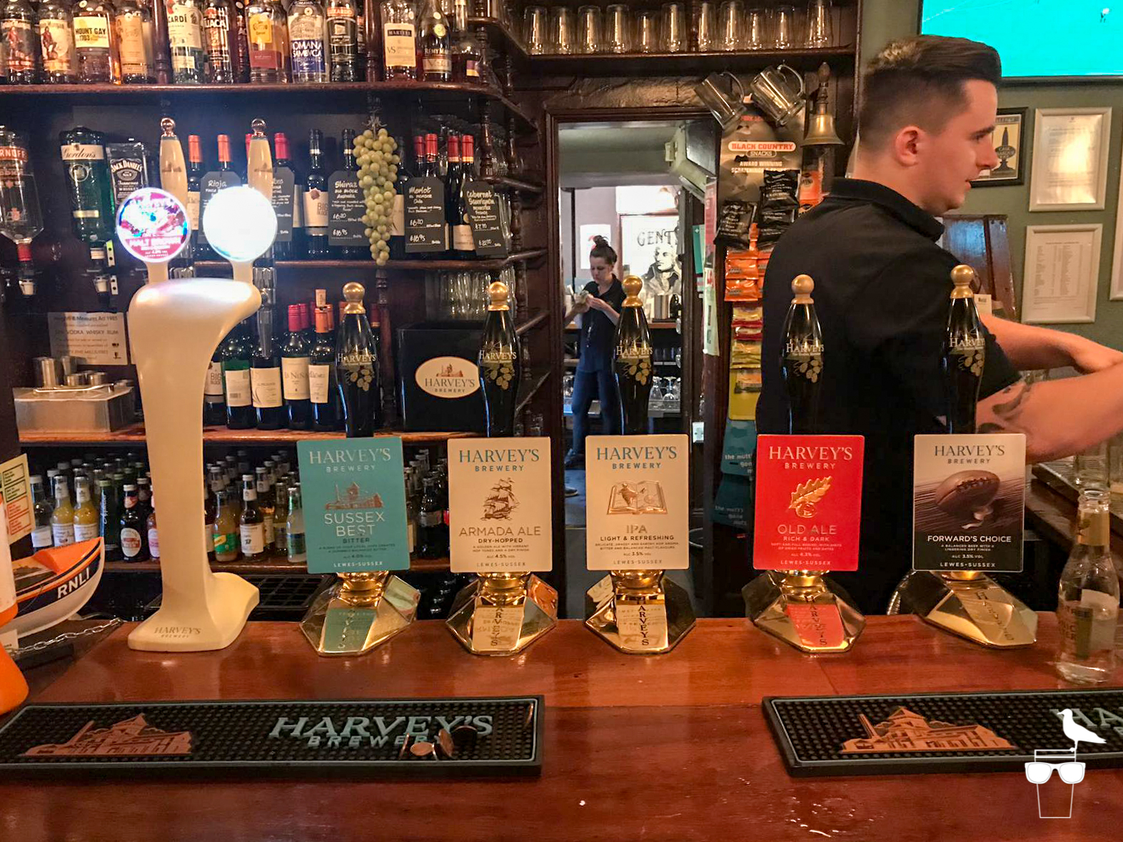 the lord nelson inn brighton bar harveys ale on cask pumps