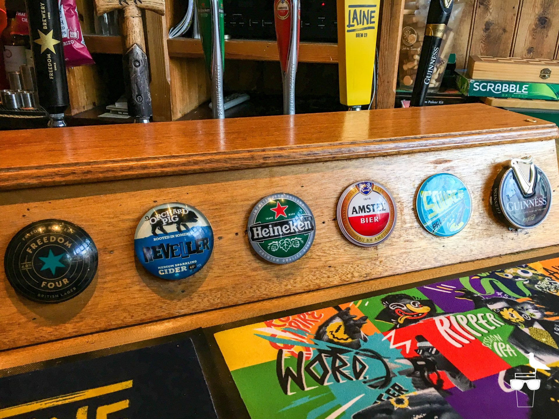 coopers cask hove pub close up of tap options