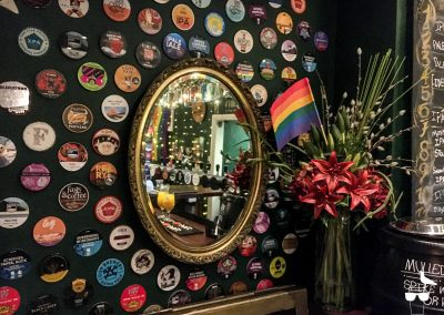 idle hands brighton wall of coasters and mirror