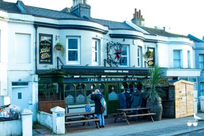 the evening star pub brighton outside front elevation with customers