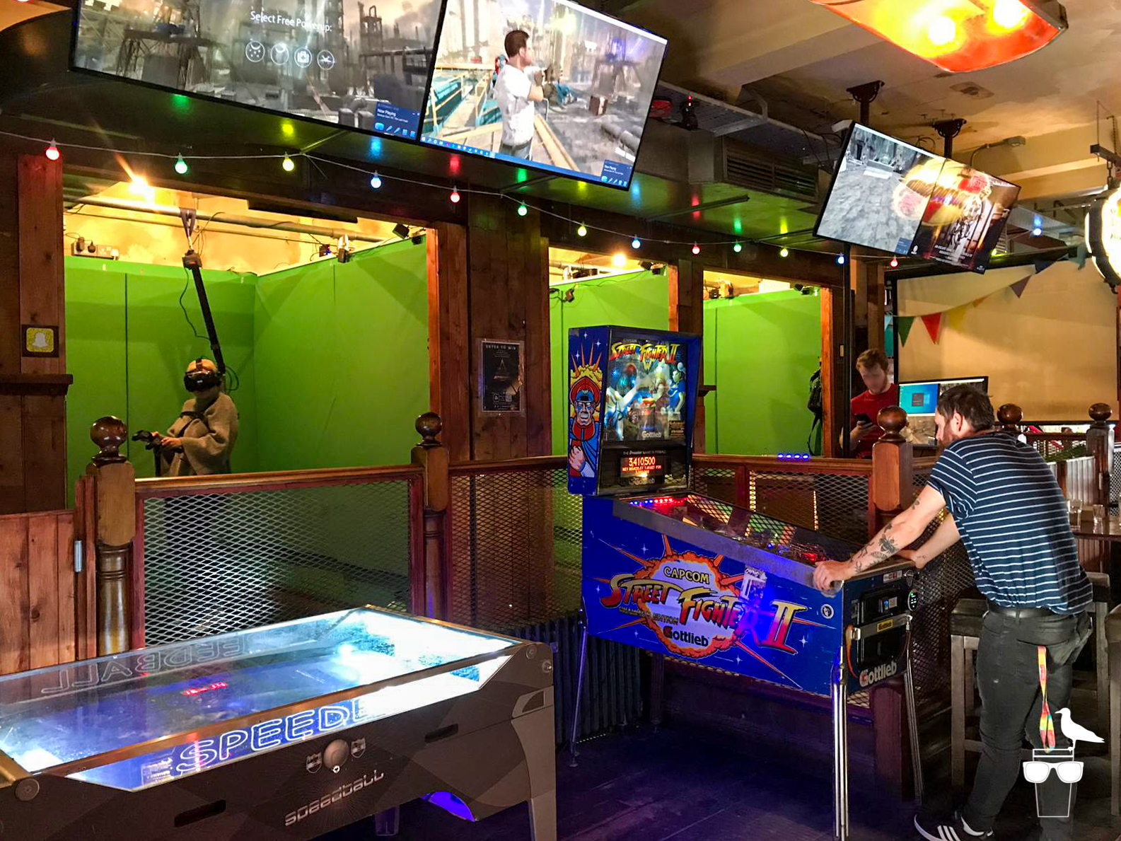 the worlds end pub london road brighton virtual reality booths pinball machine and air hockey table