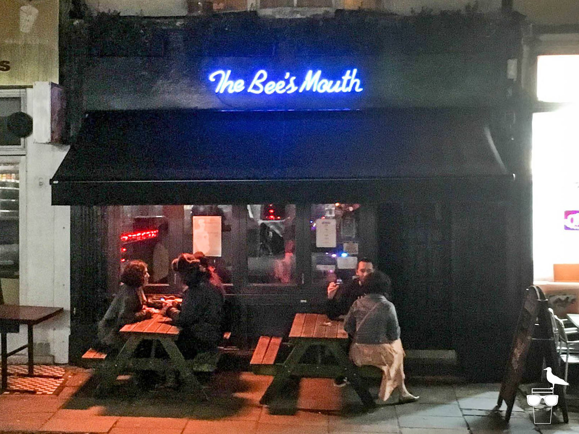 the bees mouth bar brighton outside front of pub with benches