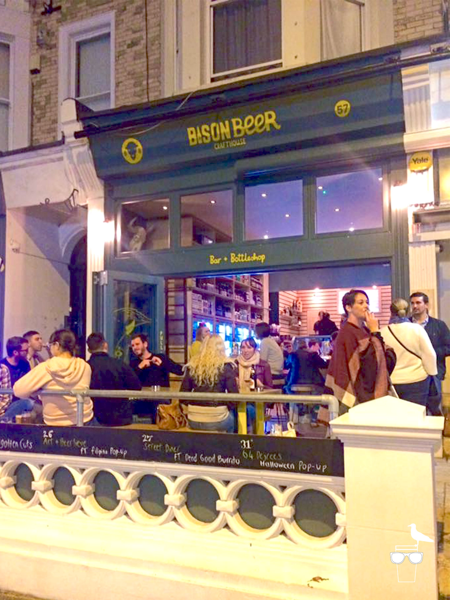 bison beer hove bar outside in the evening busy