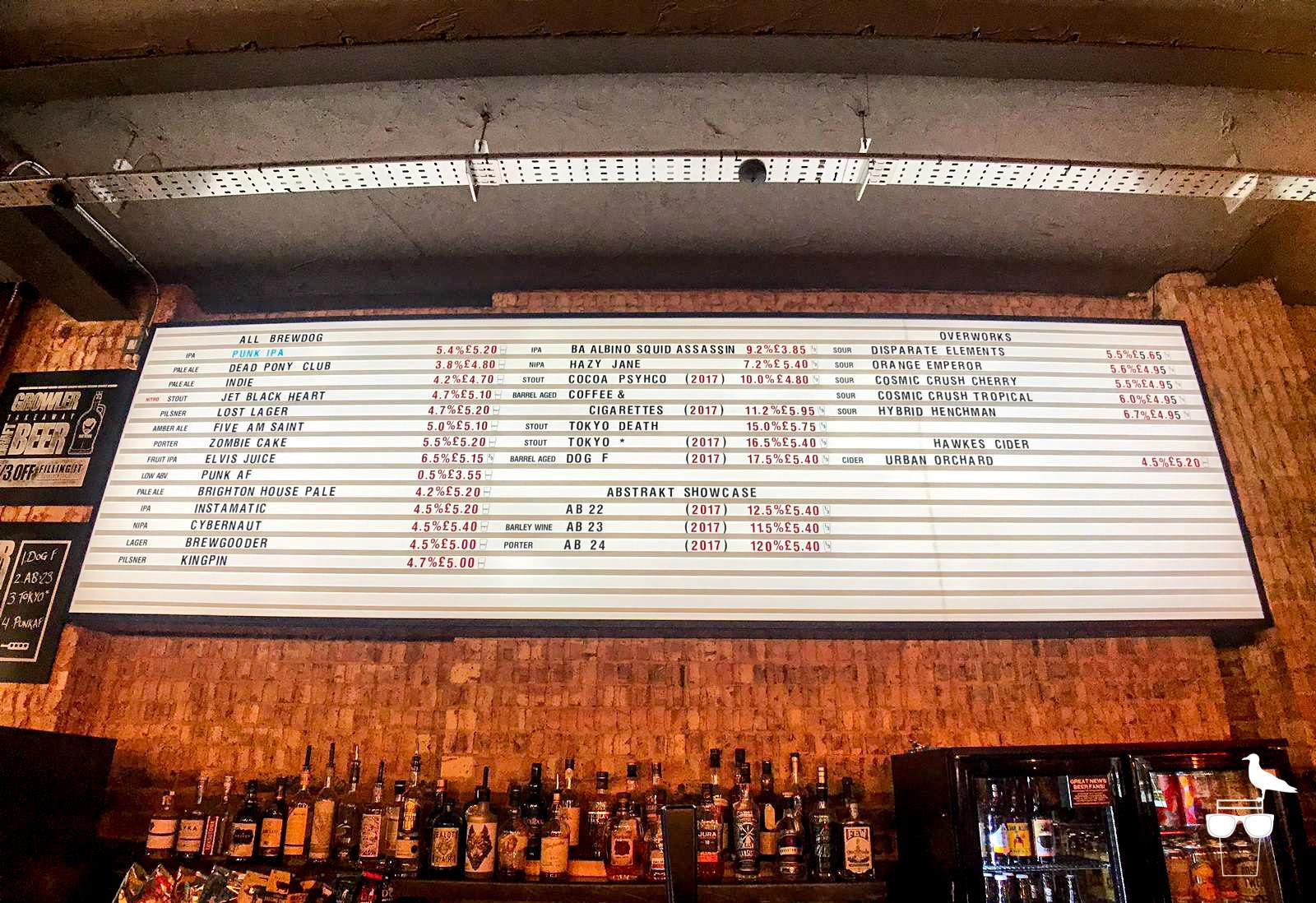 brewdog brighton beer options board