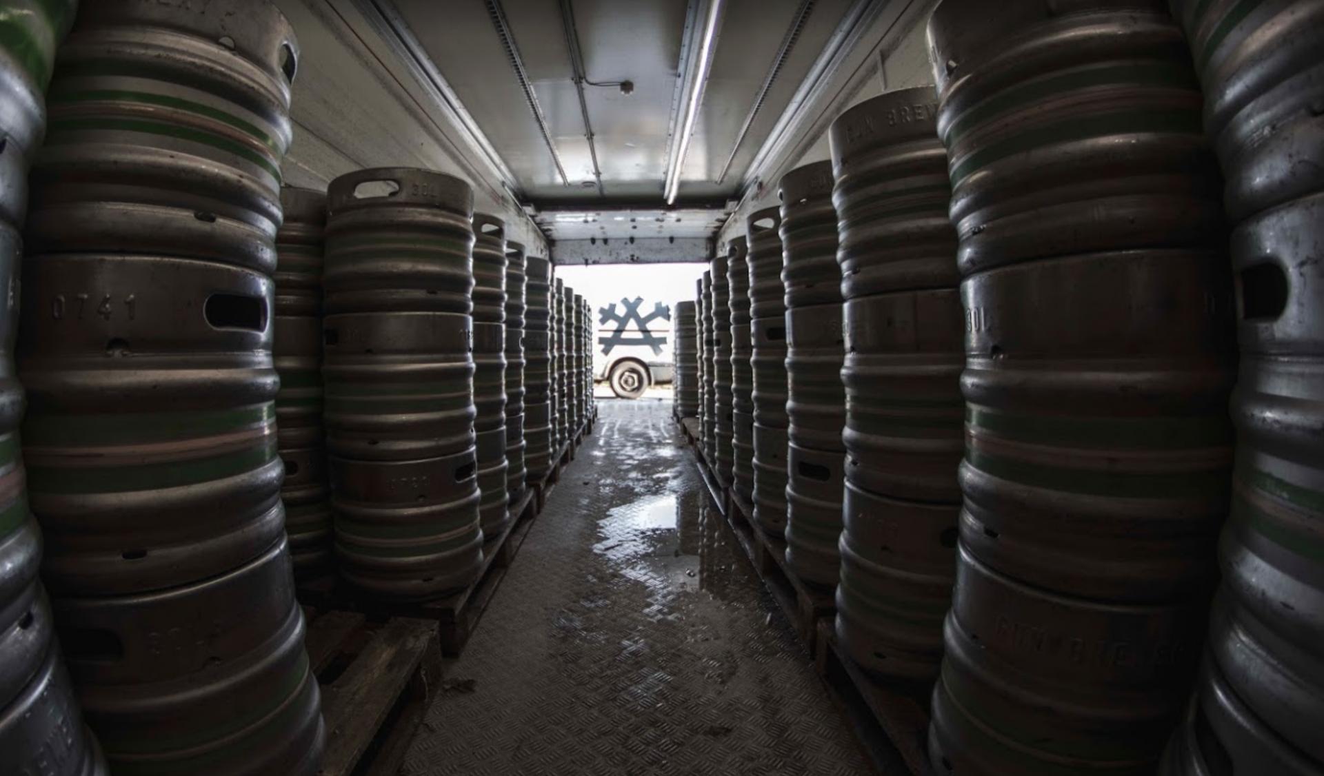 gun brewery casks in storage