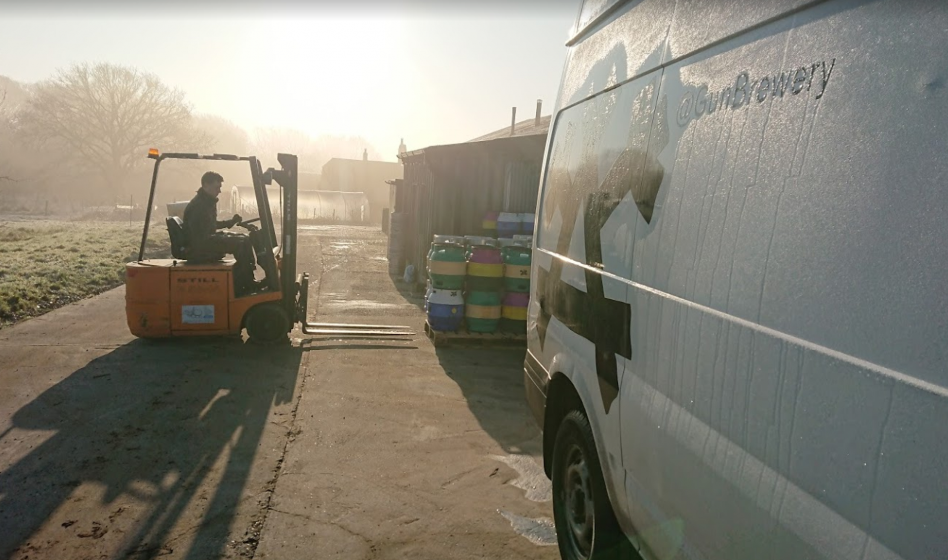 gun brewery forklift and van on frosty morning
