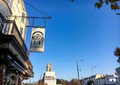 north laine brewhouse brighton sign and blue sky