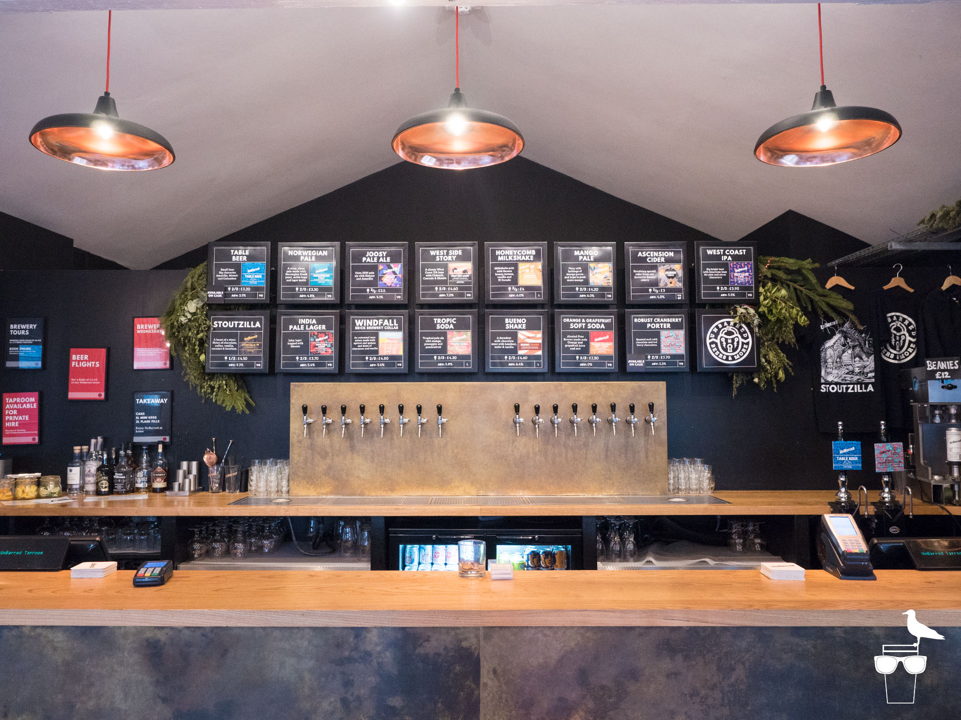 unbarred brewery and taproom brighton inside bar serving area and taps